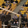 Hannah Tamimi   Banner Roy Powell, senior kinesiology major and outside and opposite hitter, fires the ball past his opponents in a match  against California State University, Long Beach. The 49ers overcame the Lancers, finishing the match 3-1.