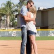 Hannah Tamimi   Banner Savannah Miller, former catcher on the CBU softball team, is surprised by Jon Bengard, former pitcher of the CBU baseball team, with a marriage proposal.