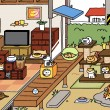 """Courtesy of HitPoint Inc. Many cats frolic and sleep on screen in the app """"Neko Atsume."""" The game allows users to tend to virtual cats by buying them food and toys."""