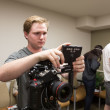 """Conner Shuh   Banner Micah Emerine, sophomore graphic design and film studies double major, works on the production of his short film, """"Blinded."""""""