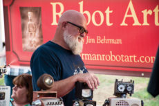 [Michael Naccarato | Banner] Jim Behrman, 62-year-old full-time artist, uses his past experience as a welder to make his robot art out of found items. Through his strong imagination, Behrman also creates motorcyles and cars out of various objects.