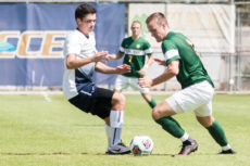 [Robert Jordan   Banner] Daniel Westholm, junior business administration major, defends the ball in a match against Point Loma Nazarene University Sept. 22. The team defeated the Sea Lions 3-0 at home.
