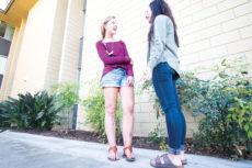 [Lauren Shelburne   Banner] Libby Otten, freshman communication disorders major, spends time with fellow Simmons Hall resident Tatiana Davis, freshman business administration major. Otten is attending California Baptist University after a life-changing accident.
