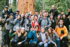 Courtesy of Jonathan Logerstedt A group of California Baptist University students lance up in a group photo with the most recent trip offered by the Community Life Office to Sequoia National Park in northern California.